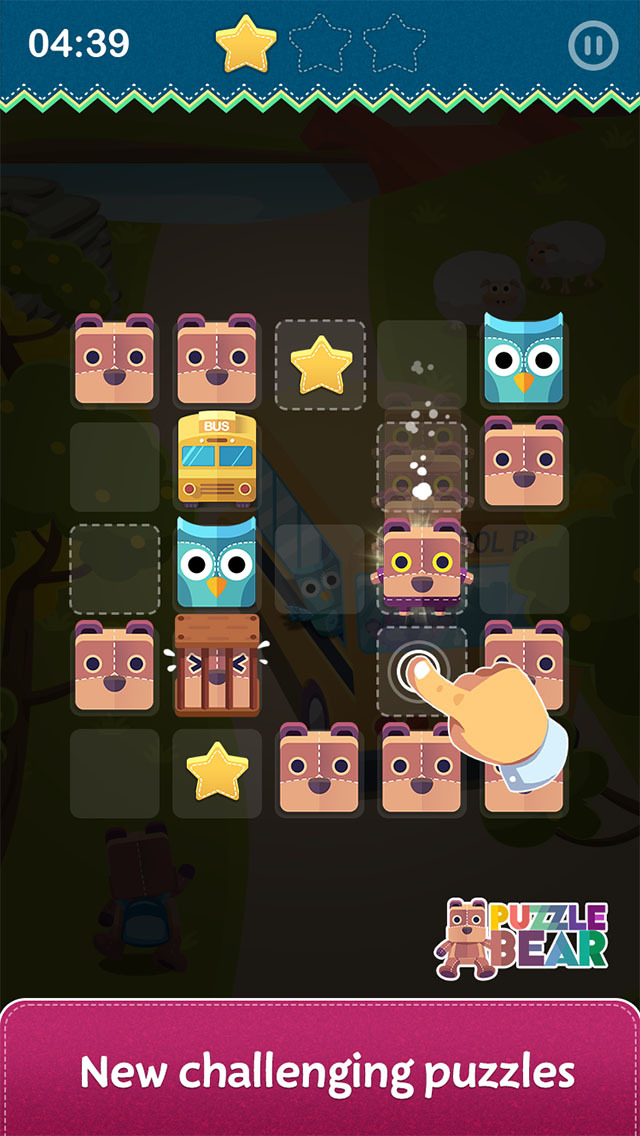 puzzle bear, iOS operating system on iOS store, let's solve puzzles, pine entertainment, it's challenging
