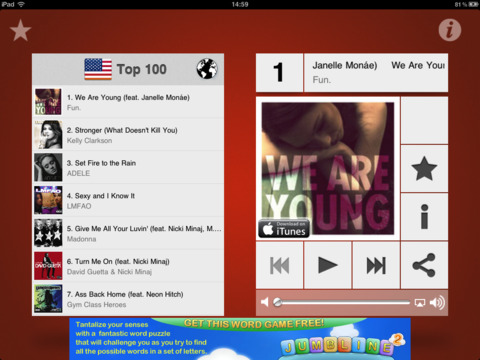 Music top 100's hits iPad Screenshot 2