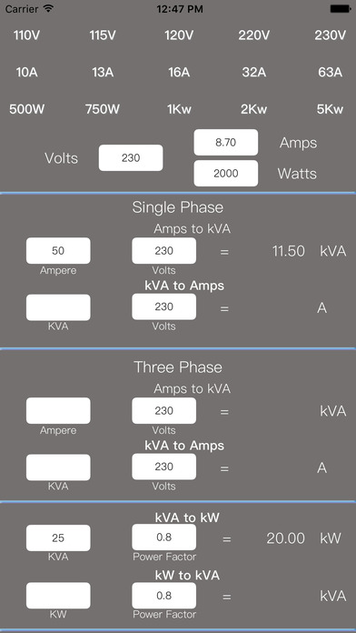 Electrical Formulas iPhone Screenshot 2