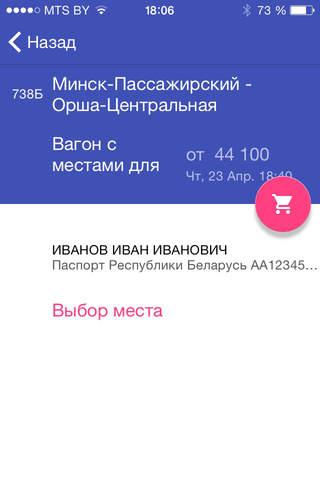 Билет на поезд. Беларусь. screenshot 4