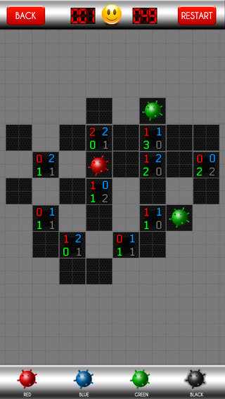 MineSweeper - 4 Colored Bombs Logic