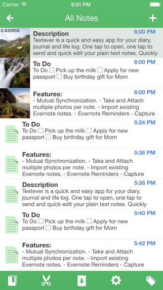 Textever – take notes on the fly, journal/diary for Evernote