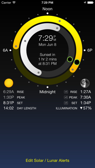 Sundial - Sun Moon Times and Alerts Sunrise Sunset Moonrise Moonset Full Moon and More