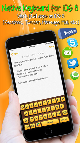 Amazing Keyboard ™ Pro - native color theme keyboard extension for iOS 8