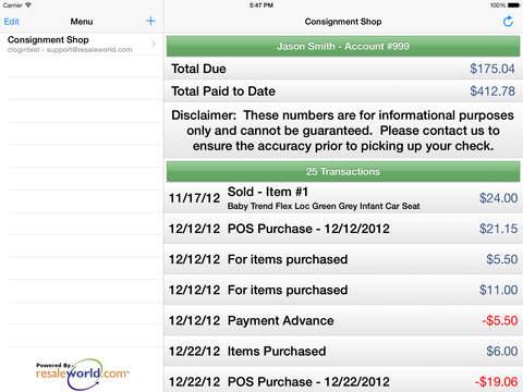 Consignor Login iPad Screenshot 2