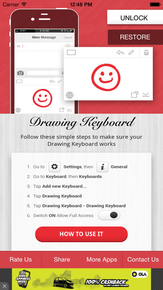 Drawing Keyboard - Scribble Doodle Keyboard in Messaging Apps for iOS8