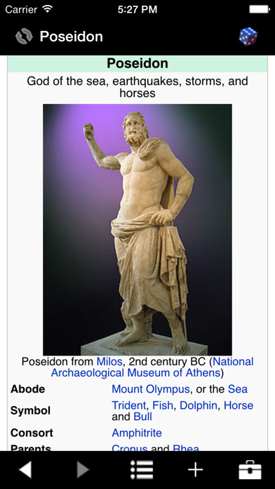 Handy Greek Mythology iPhone Screenshot 1