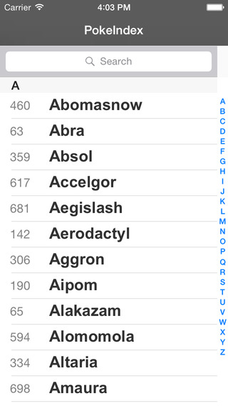 PokeIndex iPhone Screenshot 2