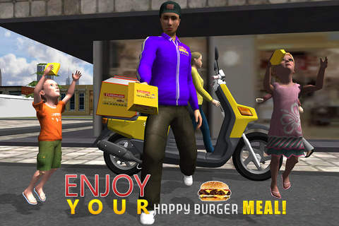 3D Ultimate Burger Boy Simulator – Motor bike ride & simulation game screenshot 4