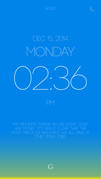 Hour - A beautiful clock with time-based gradients