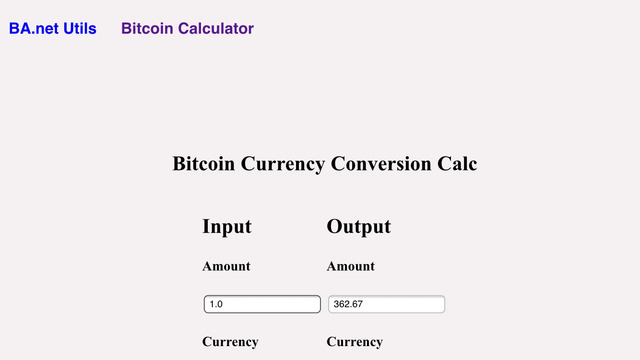 Bitcoin Calculator and Currency Converter - BA.net