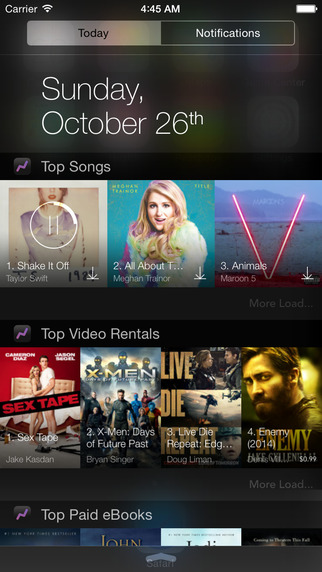 Top Chart Widget - Music Movie Video Rental Book App Ranking for iTunes