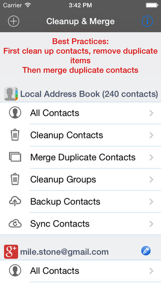 Cleanup Delete Merge Duplicate Contacts + Auto Contacts Sync for Google Gmail Yahoo etc.