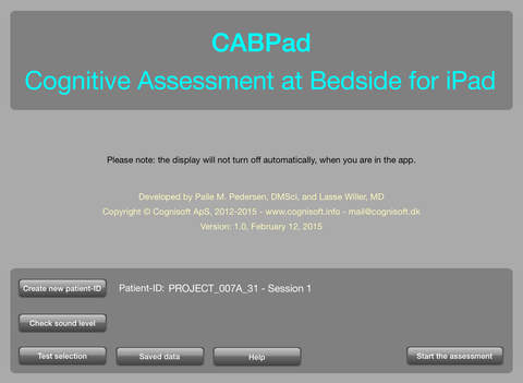 CABPad Neuropsychological Battery