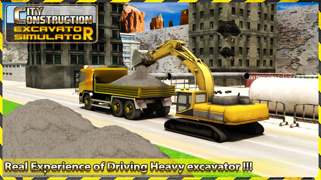 City Construction Excavator 3D - Construction Digging Machine For Modern City Building