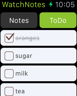 WatchNotes - Notes/Memo/Todo/Checklist for Apple Watch Screenshots