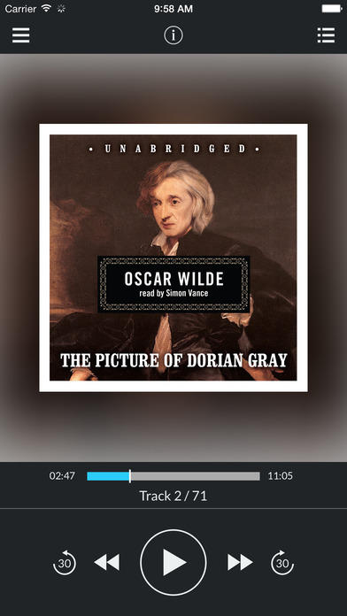 The Picture of Dorian Gray (by Oscar Wilde) (UNABRIDGED AUDIOBOOK) : Blackstone Audio Apps : Folium Edition iPhone Screenshot 1