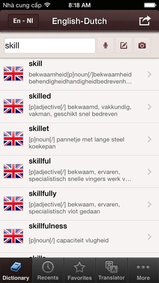 BH English Dutch Dictionary Free - Engels Nederlands Woordenboek