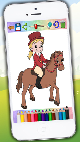 Coloring horses and ponies - drawings to paint - Premium