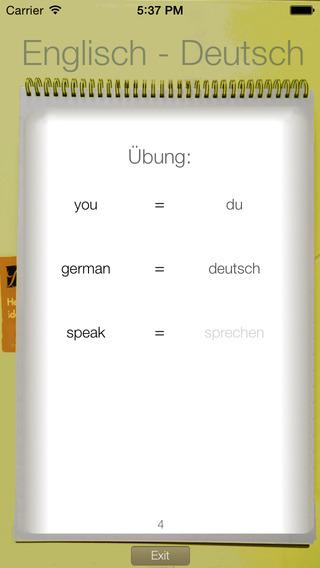 Vocabulary Trainer: German - English iPhone Screenshot 2