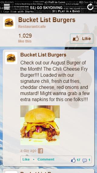 Bucket List Burgers