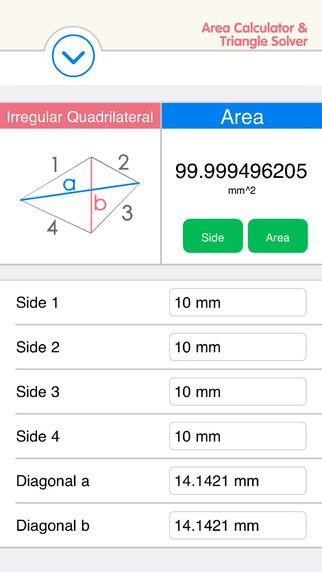 Area Calculator Triangle Solver - Quadrilateral Circle Ellipse Rectangle