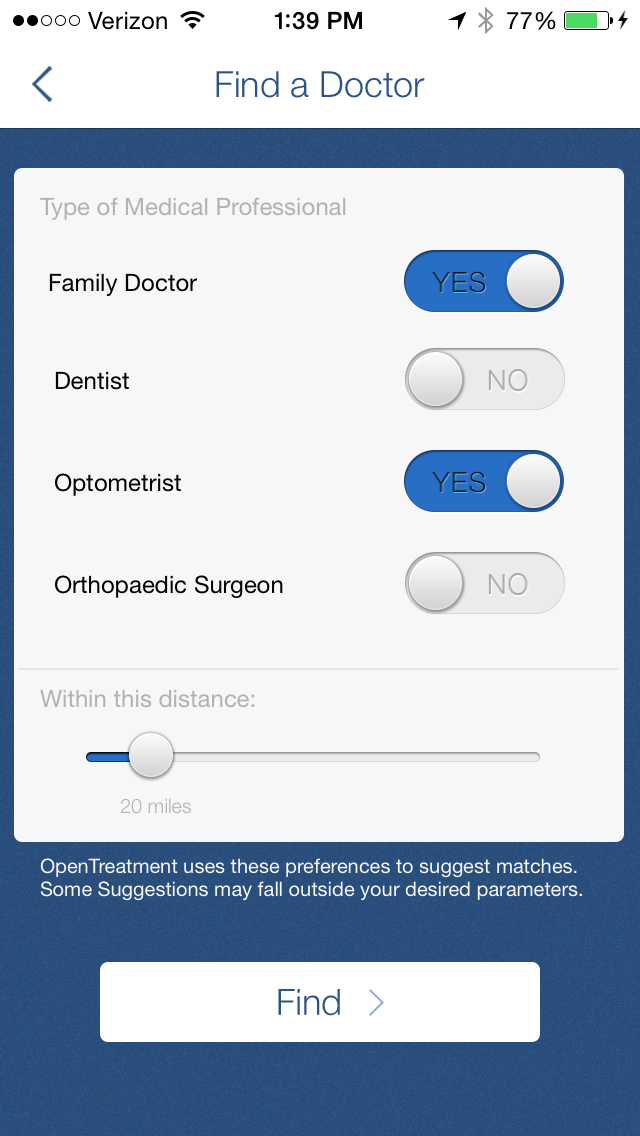 OpenTreatment Personal Health Record (PHR) screenshot