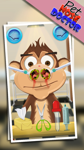 Pet Nose Doctor – Give Treatment to Monkey Bear Tiger Rabbit at Little Virtual Vet Clinic Kids Game