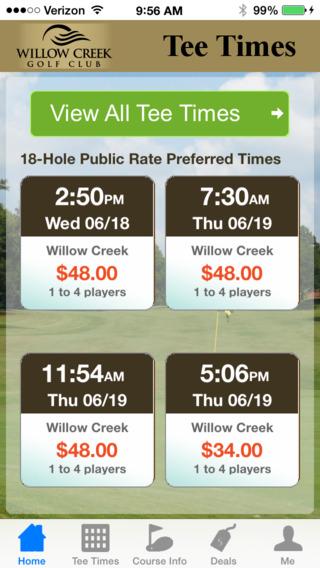 Willow Creek Golf Tee Times