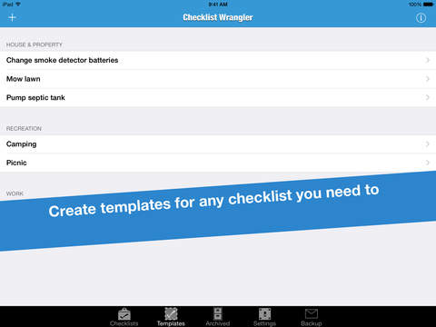 Checklist Wrangler - Manage tasks, schedules, and routines with templates iPad Screenshot 1