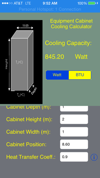 Cabinet Cooling Calculator