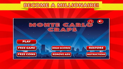 Monte Carlo Casino Craps FREE - Throw Dices and Learn How to Play Craps