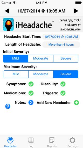 iHeadache - Headache MIgraine Diary