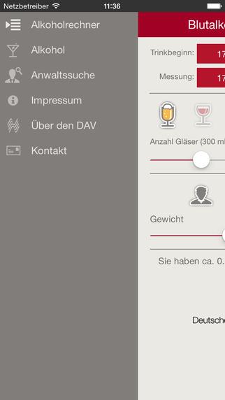 Blutalkoholrechner iPhone Screenshot 2