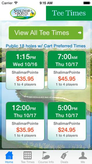 Shalimar Pointe Golf Tee Times