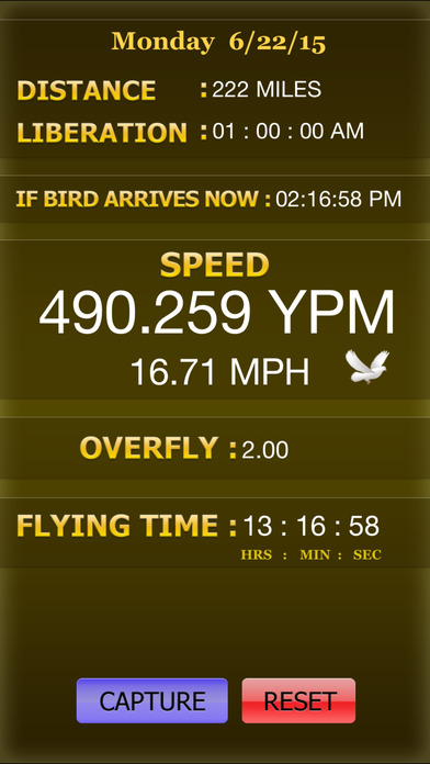PIGEON RACING SPEED & REALTIME CALCULATOR iPhone Screenshot 2