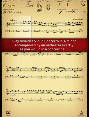 Play Vivaldi – Violin Concerto in A minor interactive sheet music