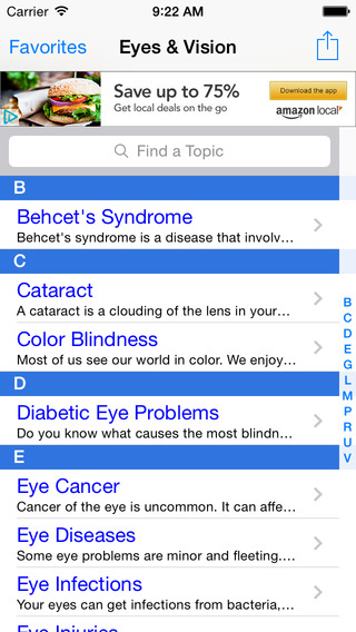 Eyes & Vision iPhone Screenshot 1