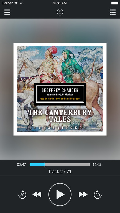 The Canterbury Tales (by Geoffrey Chaucer) (UNABRIDGED AUDIOBOOK) : Blackstone Audio Apps : Folium Edition iPhone Screenshot 1