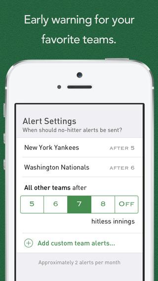 Screenshots for No-Hitter Alerts