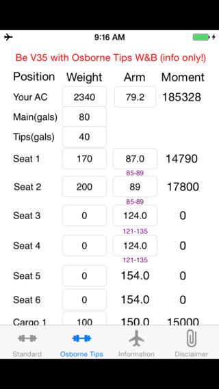 Be V35 Weight and Balance Calculator iPhone Screenshot 3