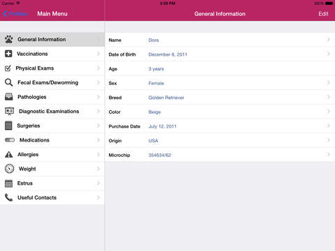 Dog Medical Agenda for iPad iPad Screenshot 3