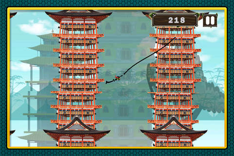Action Stick-Man Ninja Swinging : Asian Skyscrapers Tight-Rope Swing Adventure FREE screenshot 2