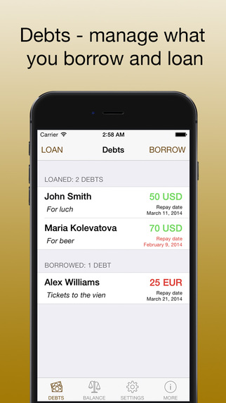 Debts - keep your debts in one app manage what you borrow and loan