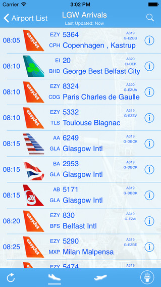London Gatwick iPlane Flight Information