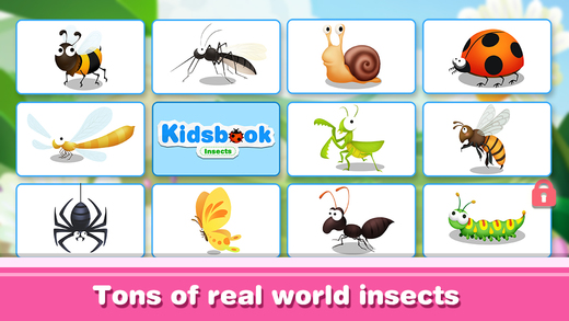 KidsBook: Insects - Interactive HD Flash Card Game Design for Kids
