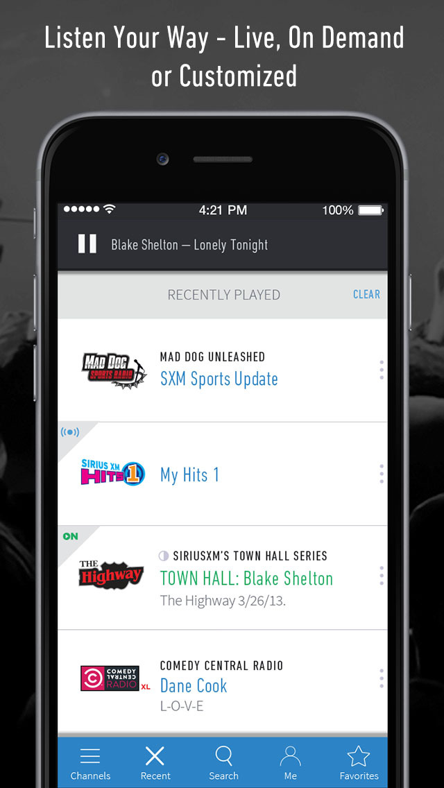 SiriusXM Radio - Music, Talk, Comedy, Sports & More Screenshot