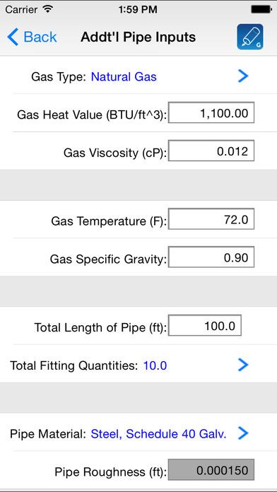 HVAC Pipe Sizer - Gas Plus iPhone Screenshot 4