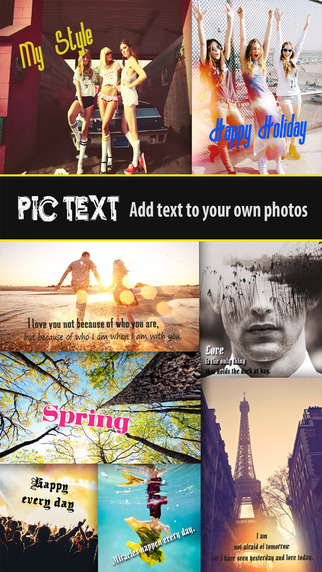 Pic Text Free - Typography Photo Editor to add caption text beautiful message over your image