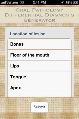 Oral Pathology Differential Diagnosis Generator screenshot 1